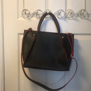 Faux leather textured structured purse